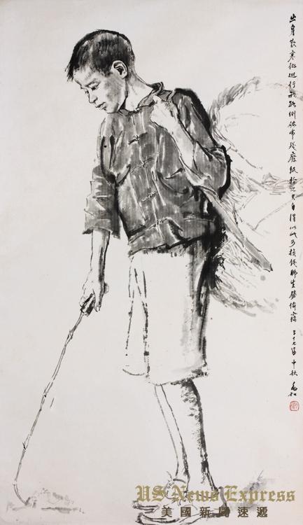 蒋兆和《捡废纸》,2008年10月香港苏富比拍卖成交价80万港币,2016年4月香港苏富比再拍成交价320万港币