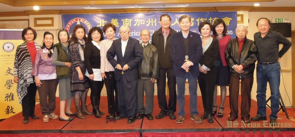 北美南加州华人写作协会理事群。钱美臻摄